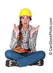 egy, clueless, női, szerkesztés, worker.