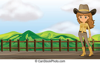 egy, cowgirl, alatt, a, bridzs