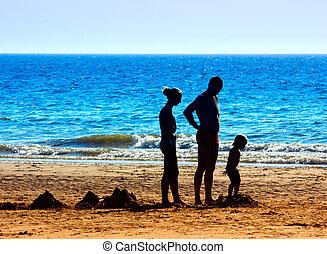 egy, család, a parton