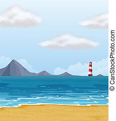 egy, csillogó épület, és, egy, tengerpart