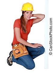 egy, csinos, női, szerkesztés, worker.