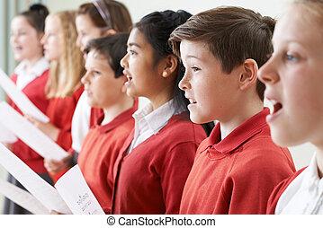 egy csoport gyerek, éneklés, alatt, tanít énekkar