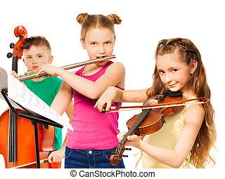 egy csoport gyerek, játék, képben látható, hangszerek