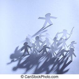 egy, csoport, papír emberek, hatalom kezezés, javalló,...