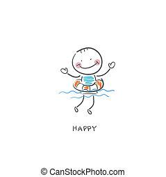 egy, ember, úszkál, alatt, a, lifebuoys., illustration.