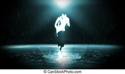 egy, ember, megszakadás táncol