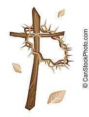 egy, fából való, kereszt, és, egy, lombkorona tövis