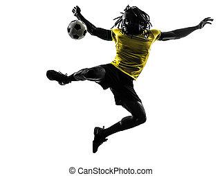 egy, fekete, brazíliai, futball foci, játékos, ember, árnykép