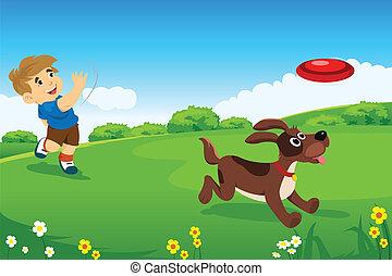 egy, fiú, játék, noha, övé, kutya