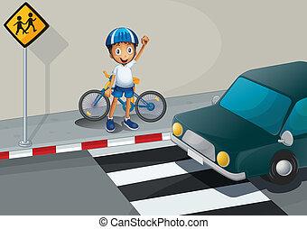 egy, fiú, noha, egy, bicikli, álló, közel, a, gyalogos, sáv