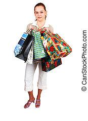egy, fiatal, bevásárlás, woman.