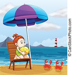 egy, fiatal lány, birtok, egy, strandlabda, tengerpart