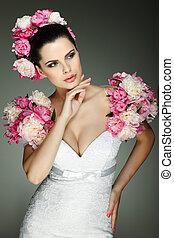 egy, finom, nemi, barna nő, van, alatt, egy, esküvő öltözködik, díszes, rózsaszínű, befest