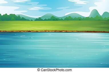 egy, folyó, és, egy, gyönyörű, táj