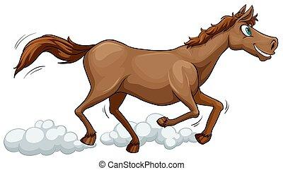 egy, futás, ló