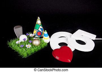 egy, golf klub, és, golf labda, képben látható, egy, mesterséges, béke, közül, fű, fordíts, lenni, használt, mint, egy, születésnap kártya