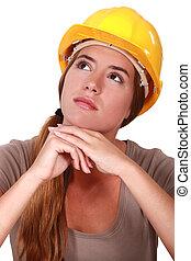 egy, gondolkodó, női, szerkesztés, worker.