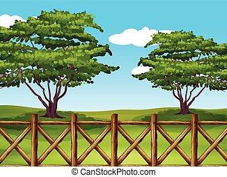 egy, gyönyörű, táj, noha, egy, kerítés