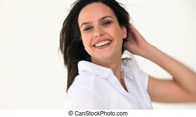 egy, gyönyörű women, mosolygós