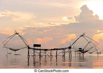 egy, hagyományos, szerszám, közül, halászat, használ,...