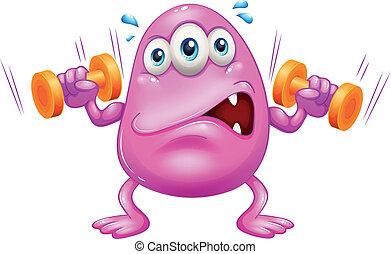 egy, kövér, rózsaszínű, szörny, gyakorlás