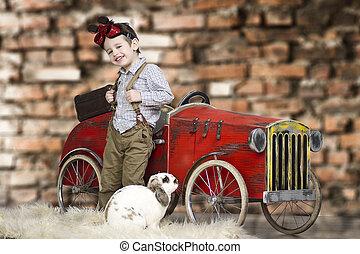egy, kicsi, fiú, játék, noha, üregi nyúl