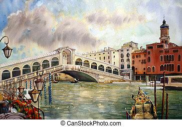 egy, kilátás, közül, a, csatorna, noha, rialto bridzs, csónakázik, és, épületek, alatt, velence, festett, által, vízfestmény
