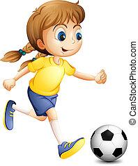 egy, kisasszony, játék foci