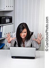 egy, kisasszony, képben látható, egy, reménytelen, computerprob