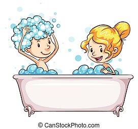 egy, leány, és, egy, fiú, -ban, a, fürdőkád