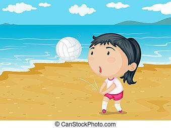 egy, leány, játék labda, képben látható, egy, tengerpart