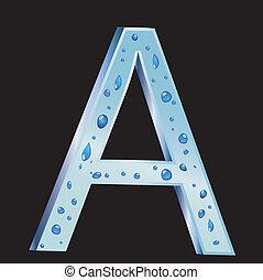egy, levél, noha, csepp, víz, vektor