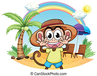 egy, majom, tengerpart