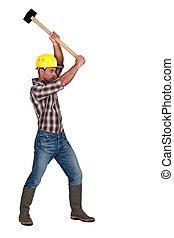 egy, manual munkás, noha, egy, sledgehammer.