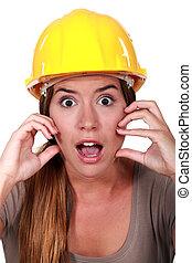 egy, megborzadva, női, szerkesztés, worker.