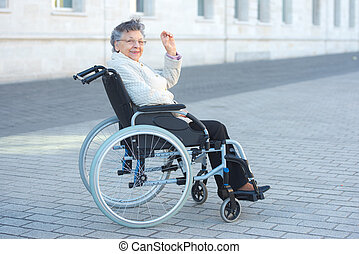 egy, meghibásodott woman, van, ül külső rész, és, hullámzás