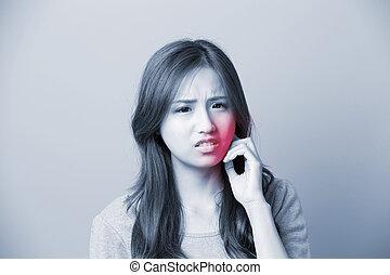 egy, nő, érint, fogfájás