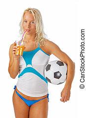 egy, nő, feltevő, noha, futball, ball.