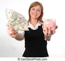 egy, nő, megmentés, neki, dollárok