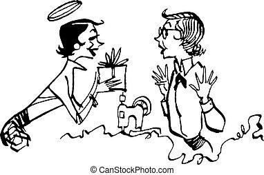 egy, nő, noha, egy, dicsfénnyel övezni, ad ajándék, fordíts,...