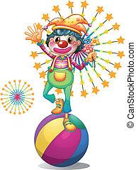egy, női, bohóckodik, felül, a, colorful labda