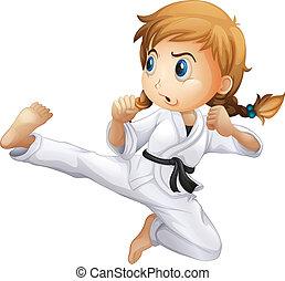 egy, női, cselekedet, karate