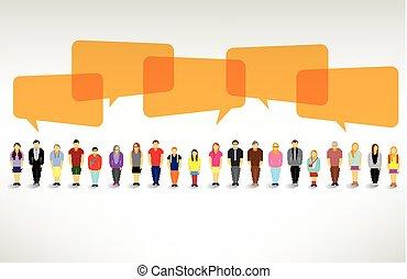 egy, nagy, csoport emberek, gyűjt, és, beszél, együtt