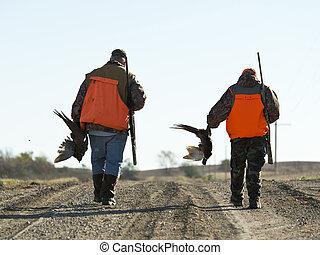 egy, nagyapa, és, fiúunoka, ki, vadászat