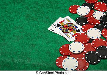 egy, nyerő, huszonegy, kéz, noha, hazárdjátékot játszik kicsorbít