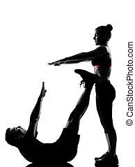 egy, párosít, bábu woman, gyakorlás, tréning, állóképesség