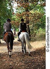 egy, párosít, képben látható, egy, ló, ride.