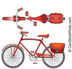 egy, piros bicikli