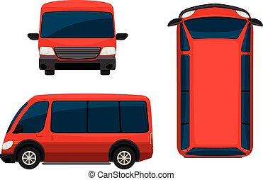 egy, piros, furgon