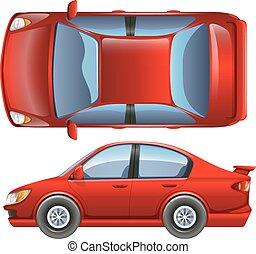egy, piros, jármű
